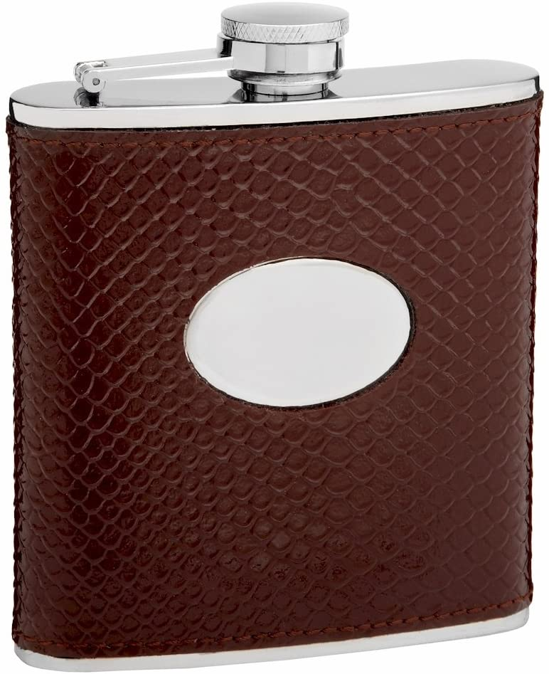 Leather Hip Flask Holding 6 oz - Snake Skin Pattern Design - Pocket Size, Stainless Steel, Rustproof, Screw-On Cap - Brown Finish Perfect for Engraving