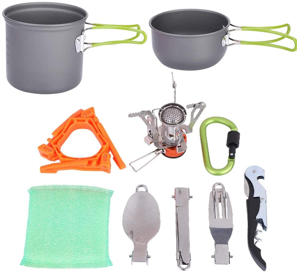 SOONHUA Camping Cookware Set, Portable Outdoor Cooking Set Camping Hiking Cookware Picnic Stockpot Pan for Travel Backpacking Hiking Trekking BBQ