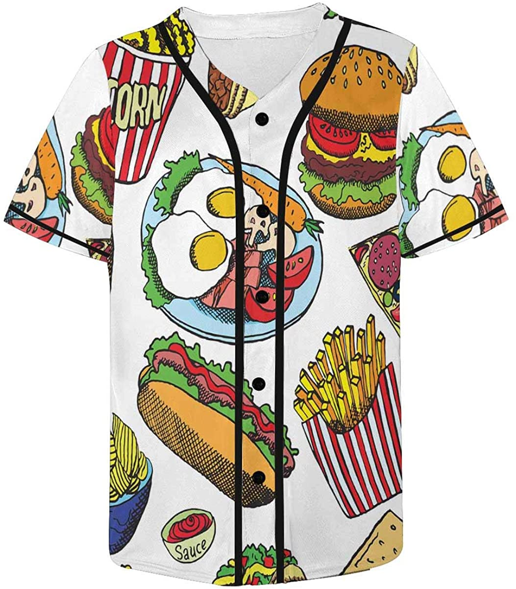 INTERESTPRINT Hot Dog with Sausage Popcorn Chips Pizza Bacon Egg Custom Mens Hipster Hip Hop Button-Down Baseball Jersey
