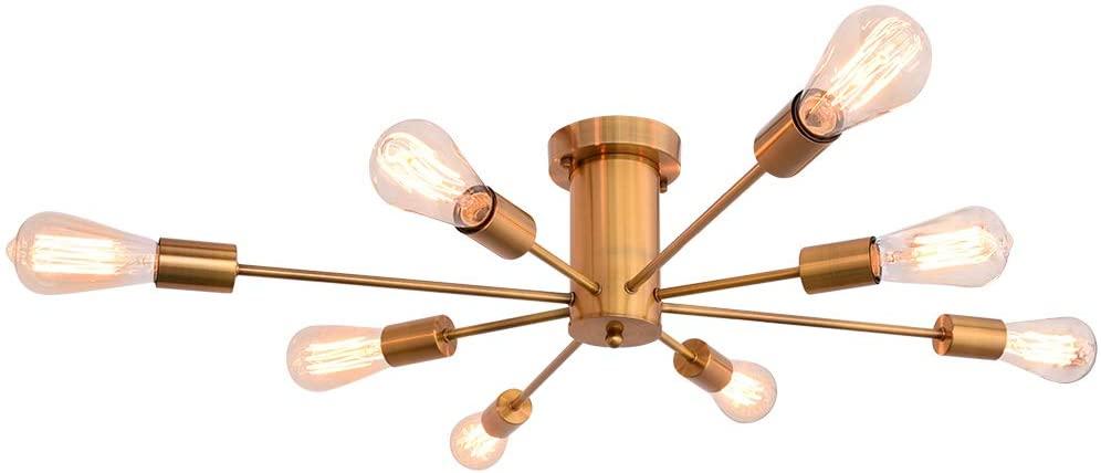 PUMING 8 Lights Sputnik Chandeliers Gold Modern Ceiling Light Semi-Flush Mount Industrial Vintage Pendant Light Fixture for Living Room Bedroom Bathroom Kitchen Island Cottage Lighting