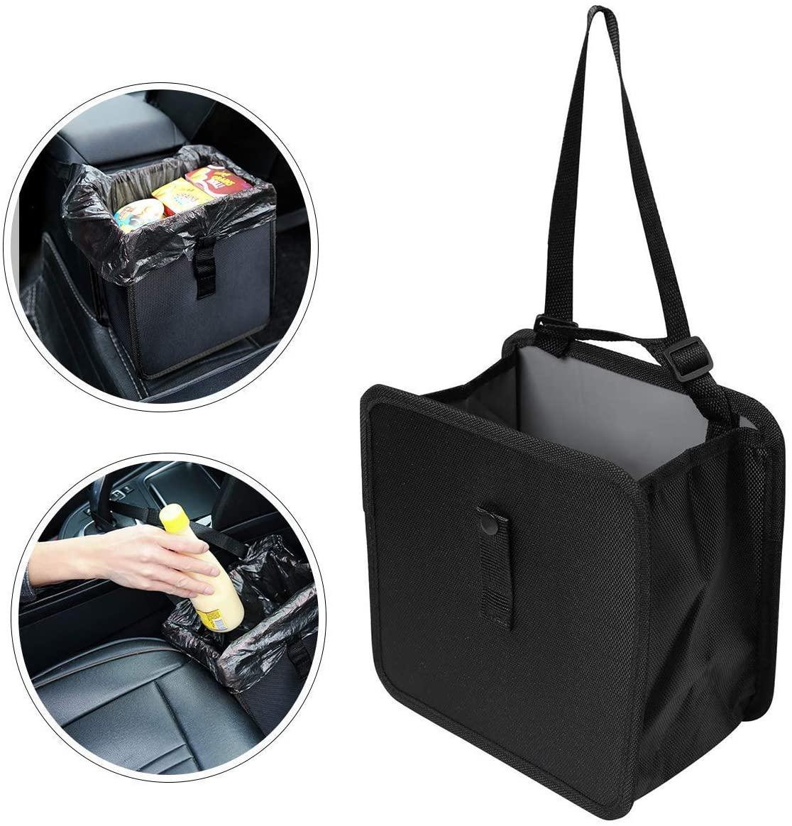 WildAuto Hanging Car Trash Can Leak Proof Car Trash Bag Collapsible Car Garbage Can 6.5Ltr Capacity (Black)