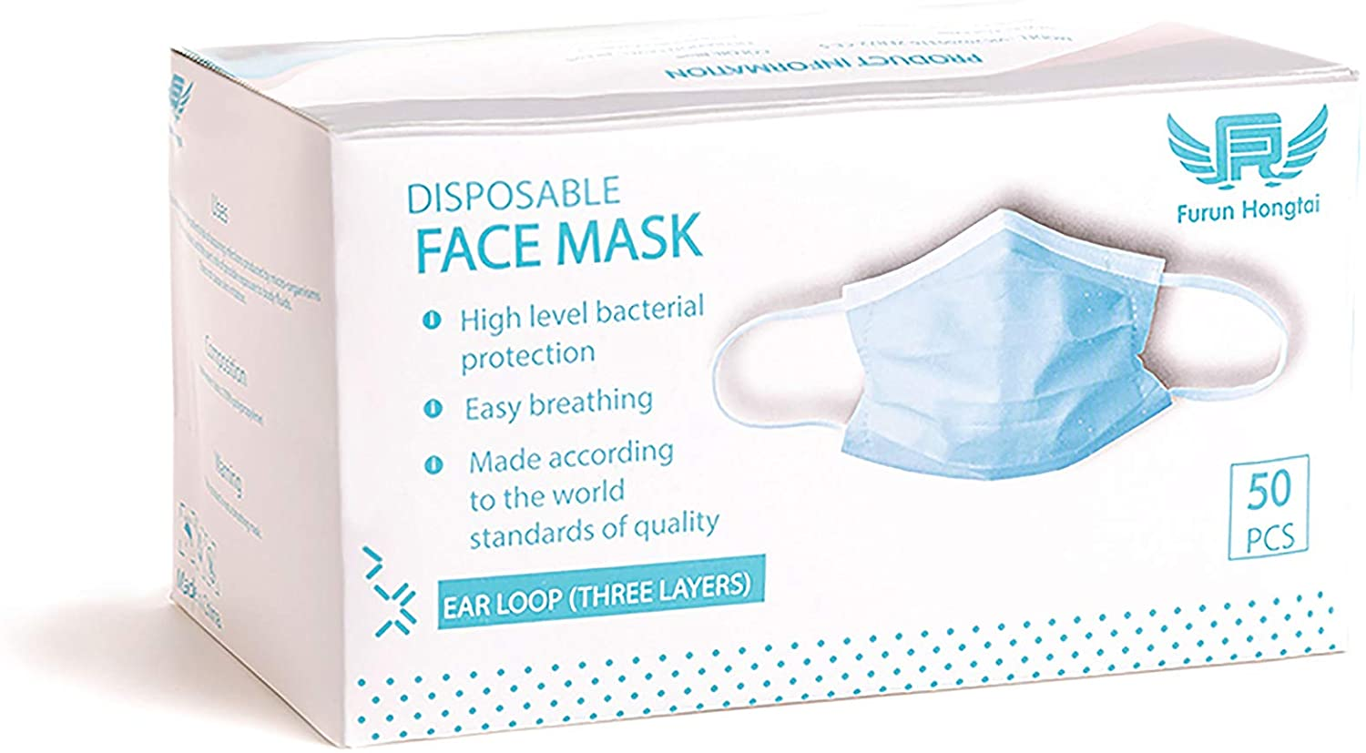 50 pc 3ply Protective Mouth Cover Face Mask Multi Layer Breathable Disposable for Individual and Family Use (Packaging May Vary)