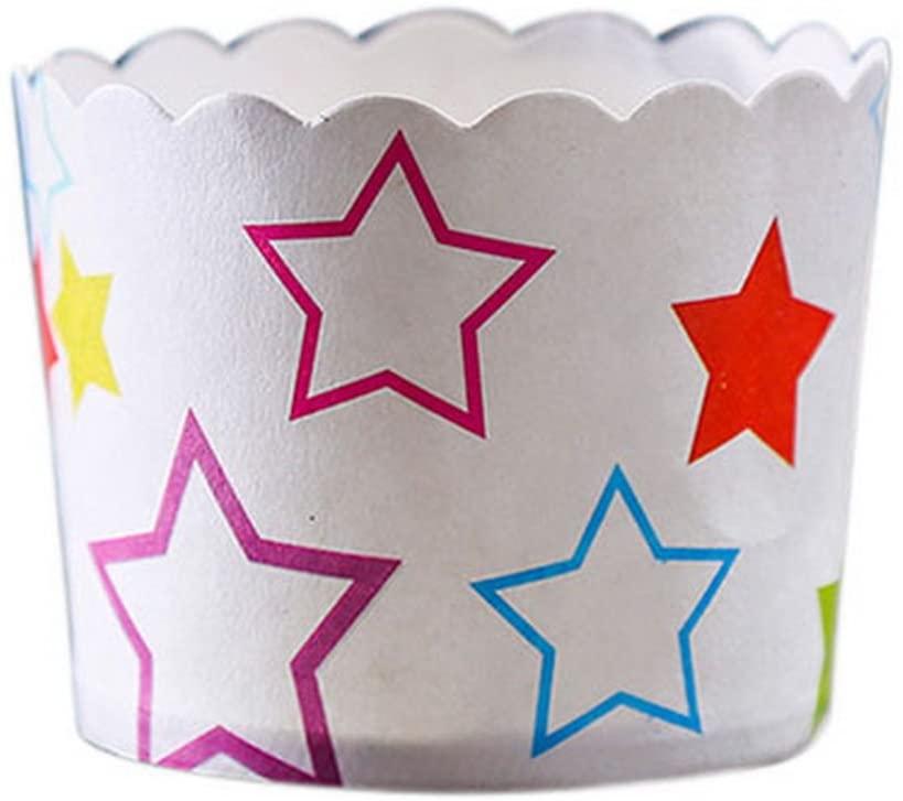 Gentle Meow 50 Medium Lovely Creative Cake Cups, Multicolor Stars
