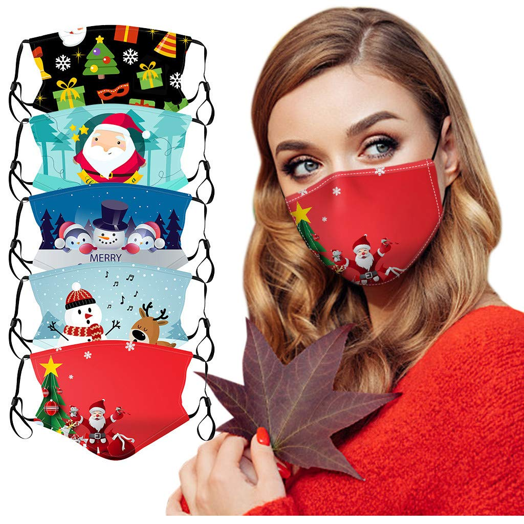 5Pcs Christmas Cotton Printed Face_Masks for Unisex Adults, Washable Reusable Anti-dust Face Bandana with Adjustable Earloop (A)