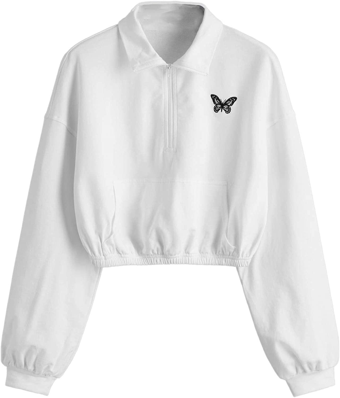 SheIn Women's Crop Zip Placket Front Basic Collar Pullover Sweatshirt