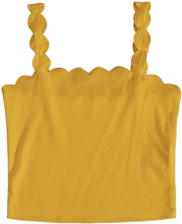 MakeMeChic Women's Scallop Trim Cami Crop Top Solid Sleeveless Camisole