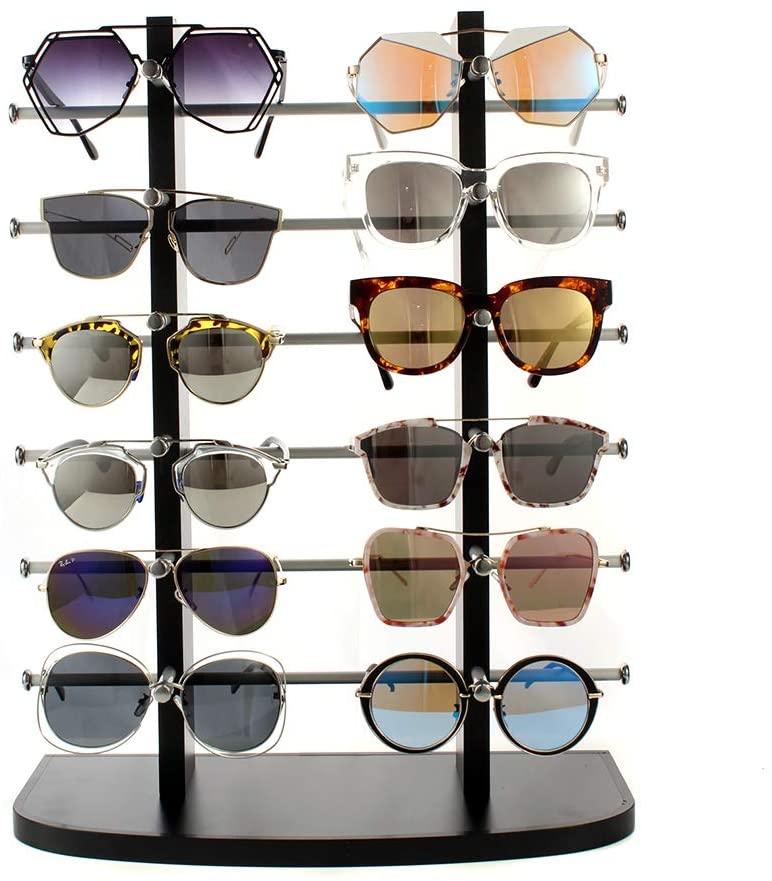 PAERSHI Sunglass Display Large Frame Sunglasses Display Rack Laminated Eyewear Display 12 Glasses