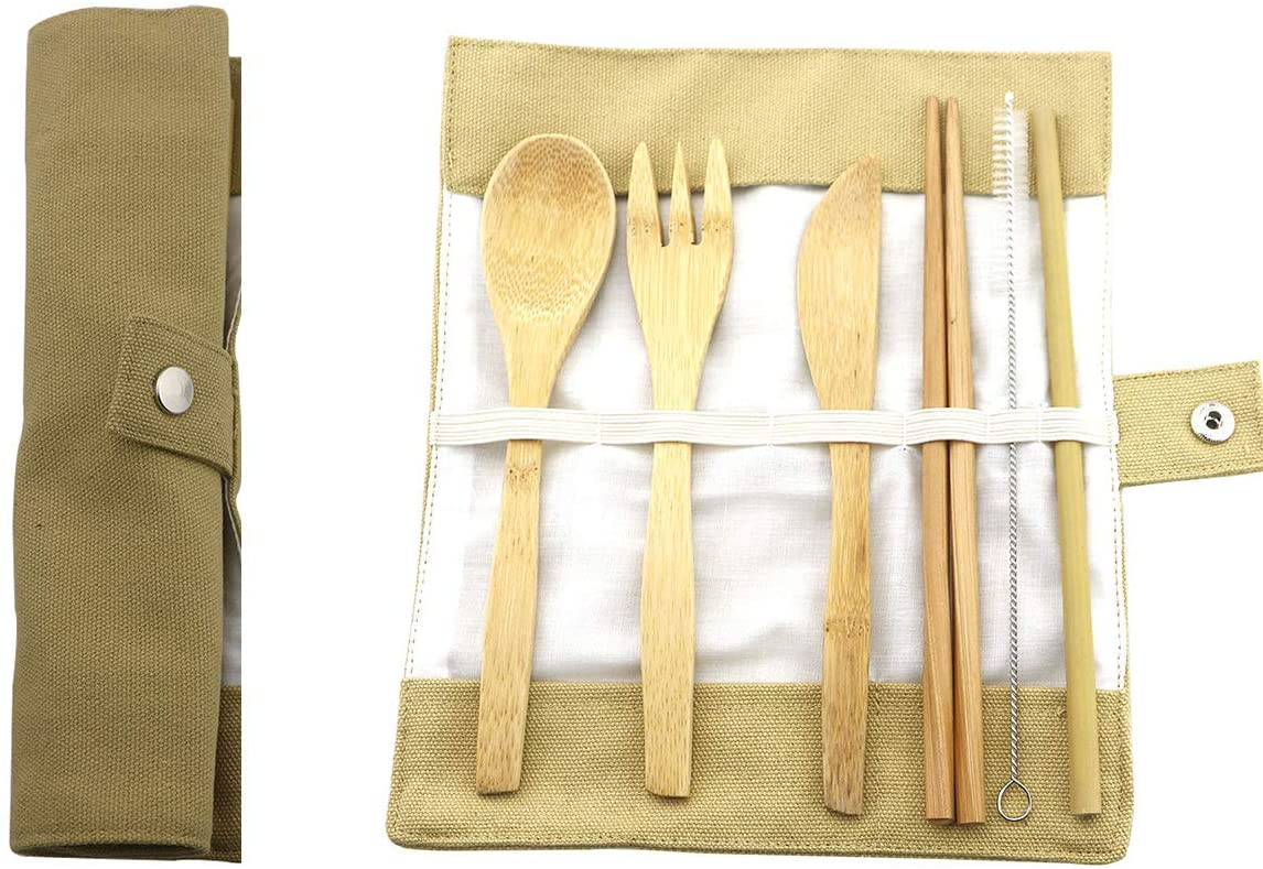 Uniturcky Bamboo Cutlery Set Travel Utensil Set Portable Flatware Set with Case, Knife, Fork, Spoon, Chopsticks, Straw and Brush Eco-Friendly for Outdoor Camping Office School Lunch (7 Piece,Khaki)