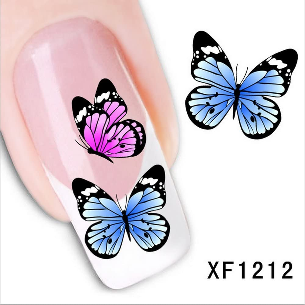 LEECOCO 5 PCS 3D Self-Adhesive Beauty Nail Art Water Transfer Decal Sticker Sexy Lipstick Series Pattern Nail Art Sticker Decorations for Girls,Colorful Butterflies XF1212
