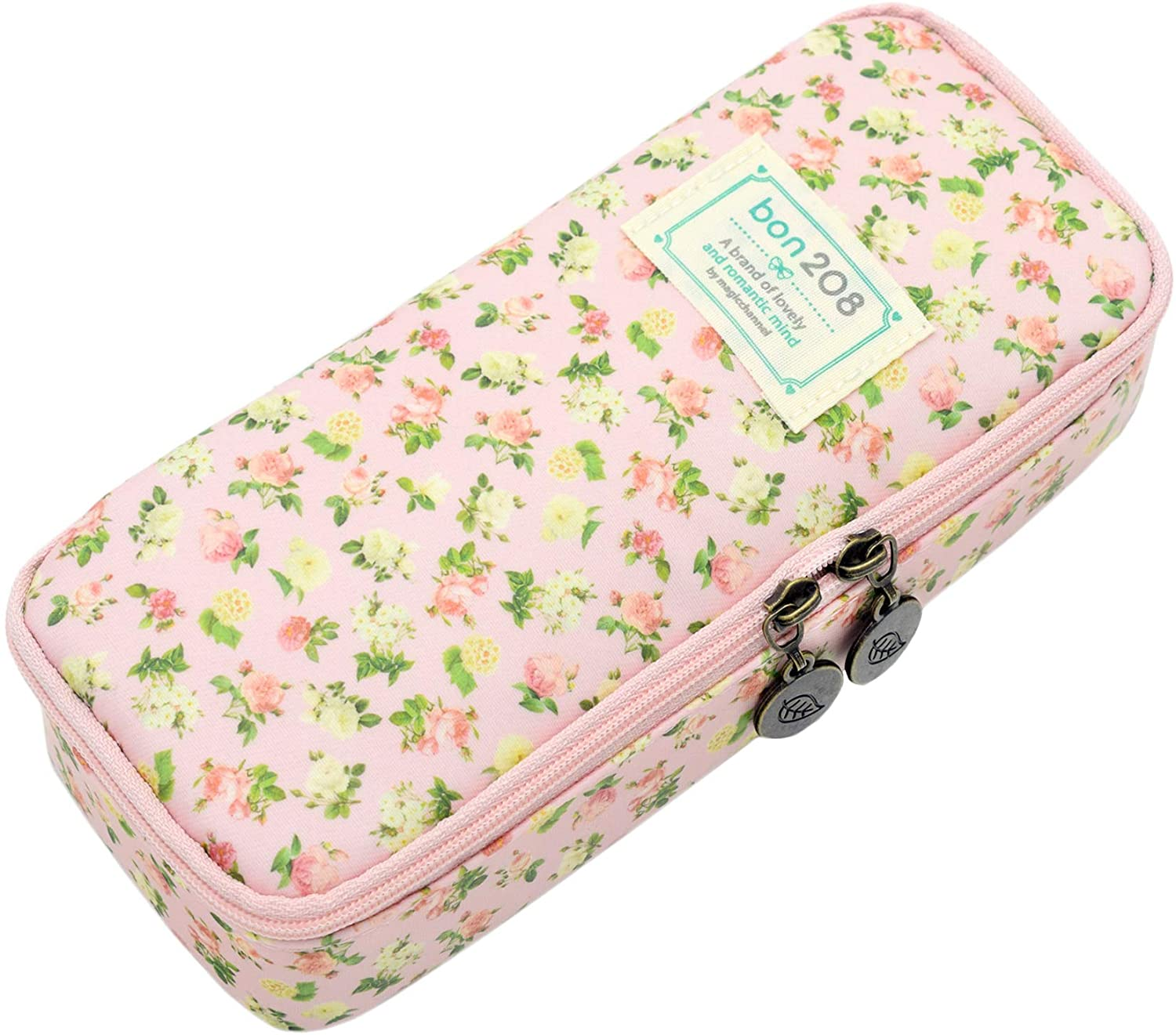 Twinkle Club Cute Floral Pencil Pen Case Bag Pouch Holder for Middle High School College Office Girl Storage Pink