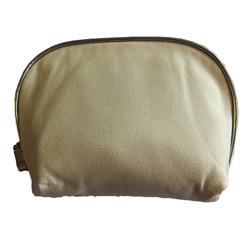 Cosmetic Canvas Cotton Bag (Silver Trim)