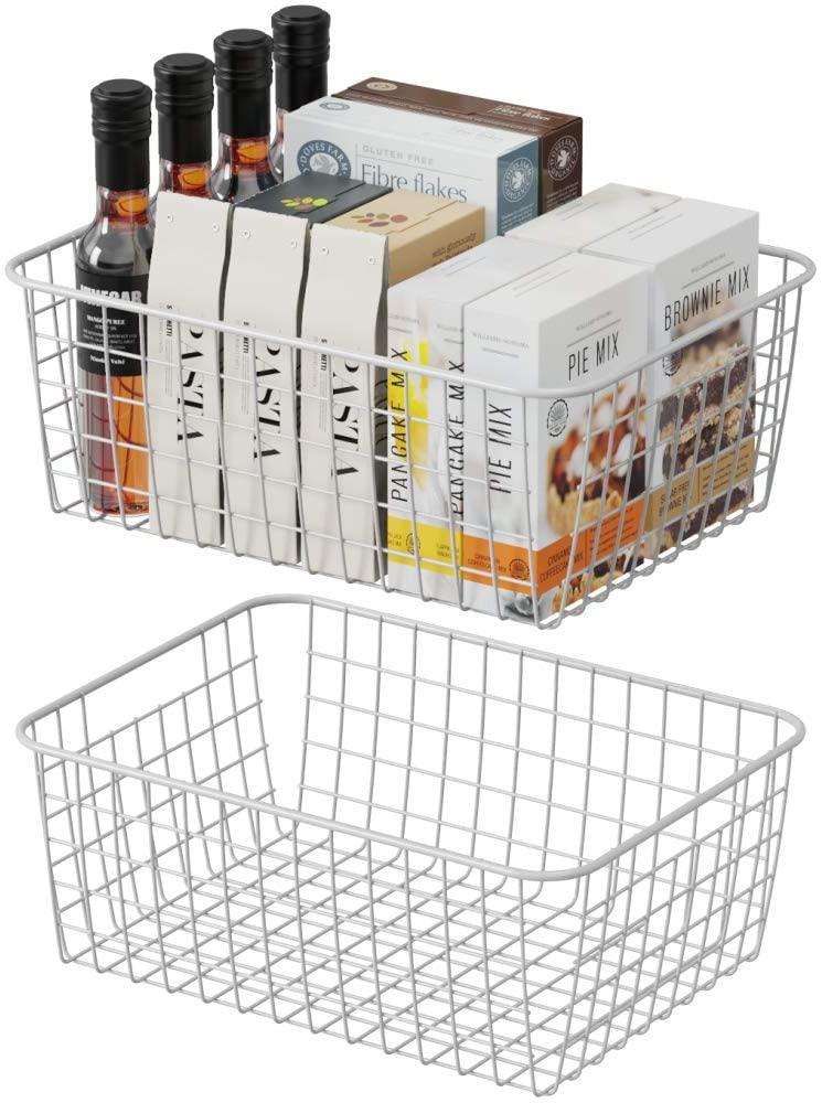 Wire Storage Basket, F-color 2 Pack Medium Metal Household Storage Organizer Bin with 2 Built-in Handles for Pantry, Shelf, Freezer, Kitchen Cabinet, Bathroom, White