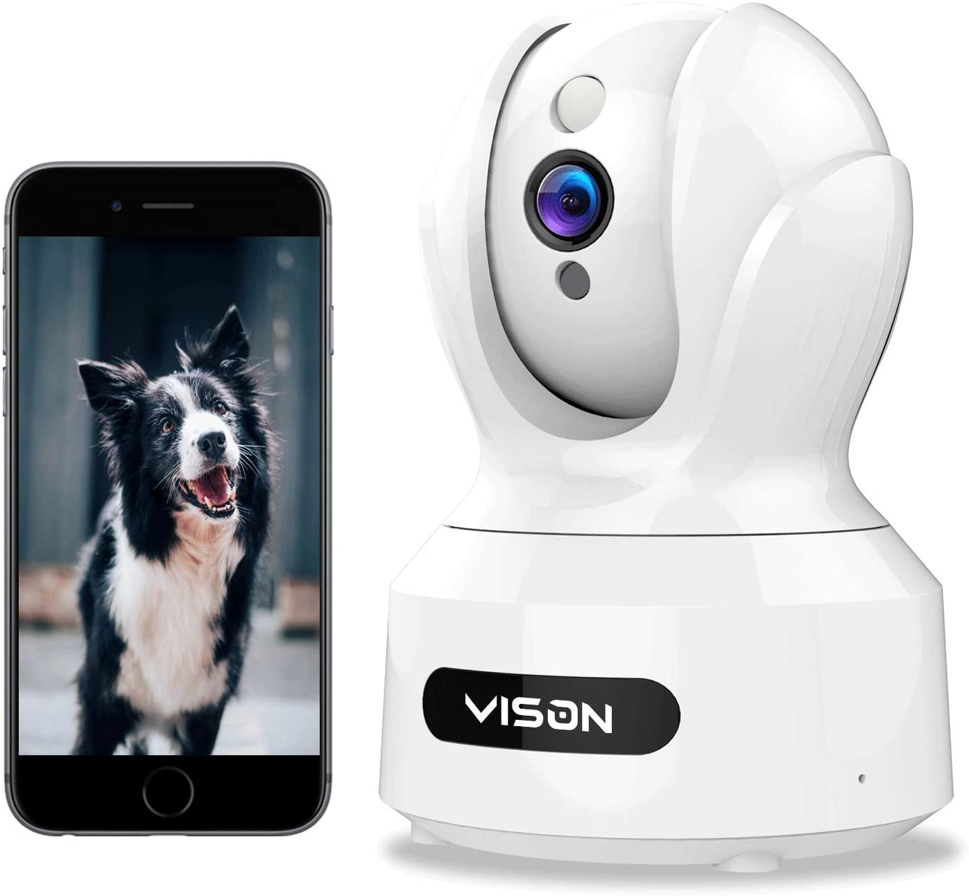 VISON Baby Monitor, WiFi pet Camera, FHD1080P Dog Camera, Wireless IP Camera, Home Security Camera with Alexa , Motion and Sound Detection, Motion Tracking, Two-Way Audio