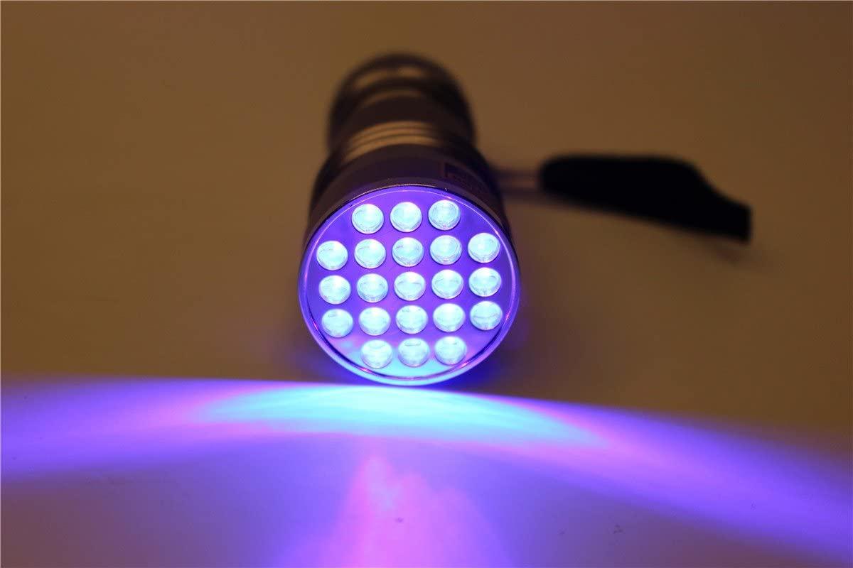 UV 395-400NM Waterproof 21 LED Blacklight Flashlight Ultra Violet Light Lamp Fly Tying Glue Curing Light