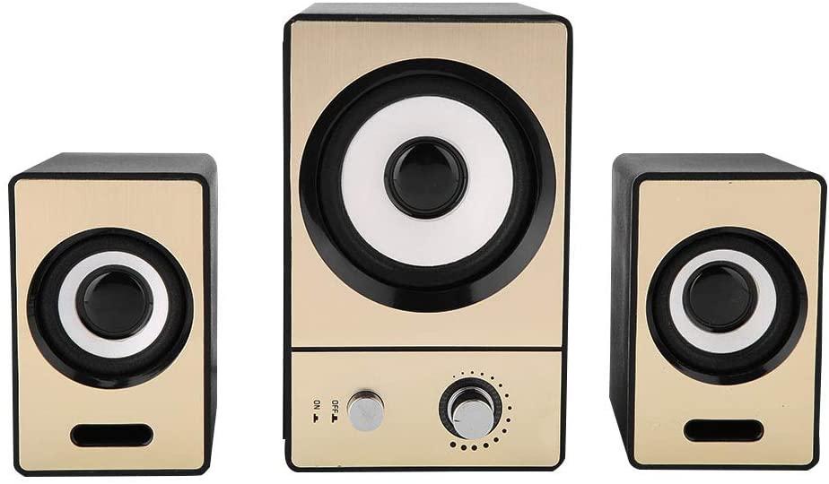 Speaker Set 2.1 Stereo Surrounding Speaker Clear PC Speaker with Subwoofer for Computer Laptop(Gold)