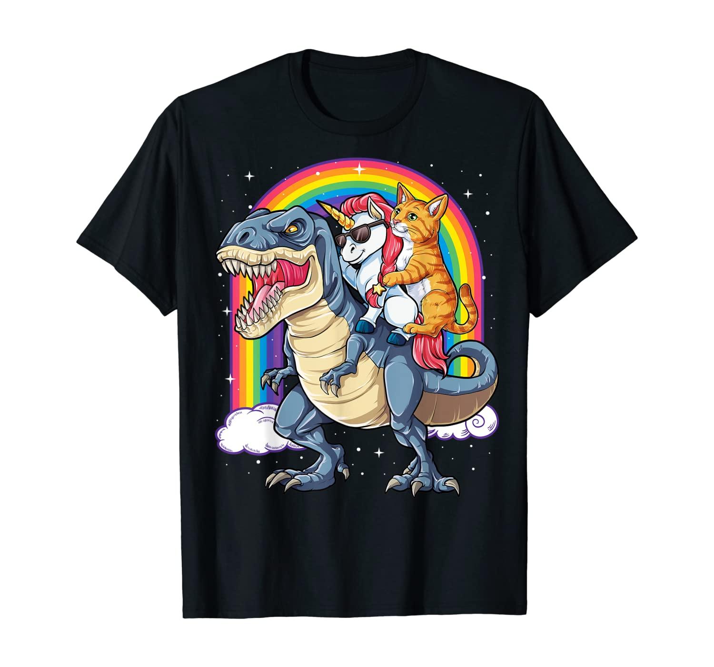 Cat Unicorn Dinosaur T rex T shirt Kitten lover Space Galaxy