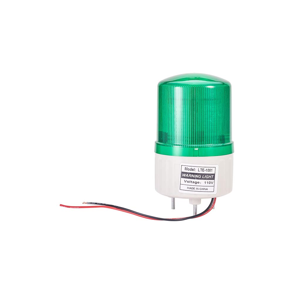 Othmro LED Warning Light Bulb Rotating Industrial Signal Tower Lamp Buzzer 2W 110V Green TB-1081 1pcs