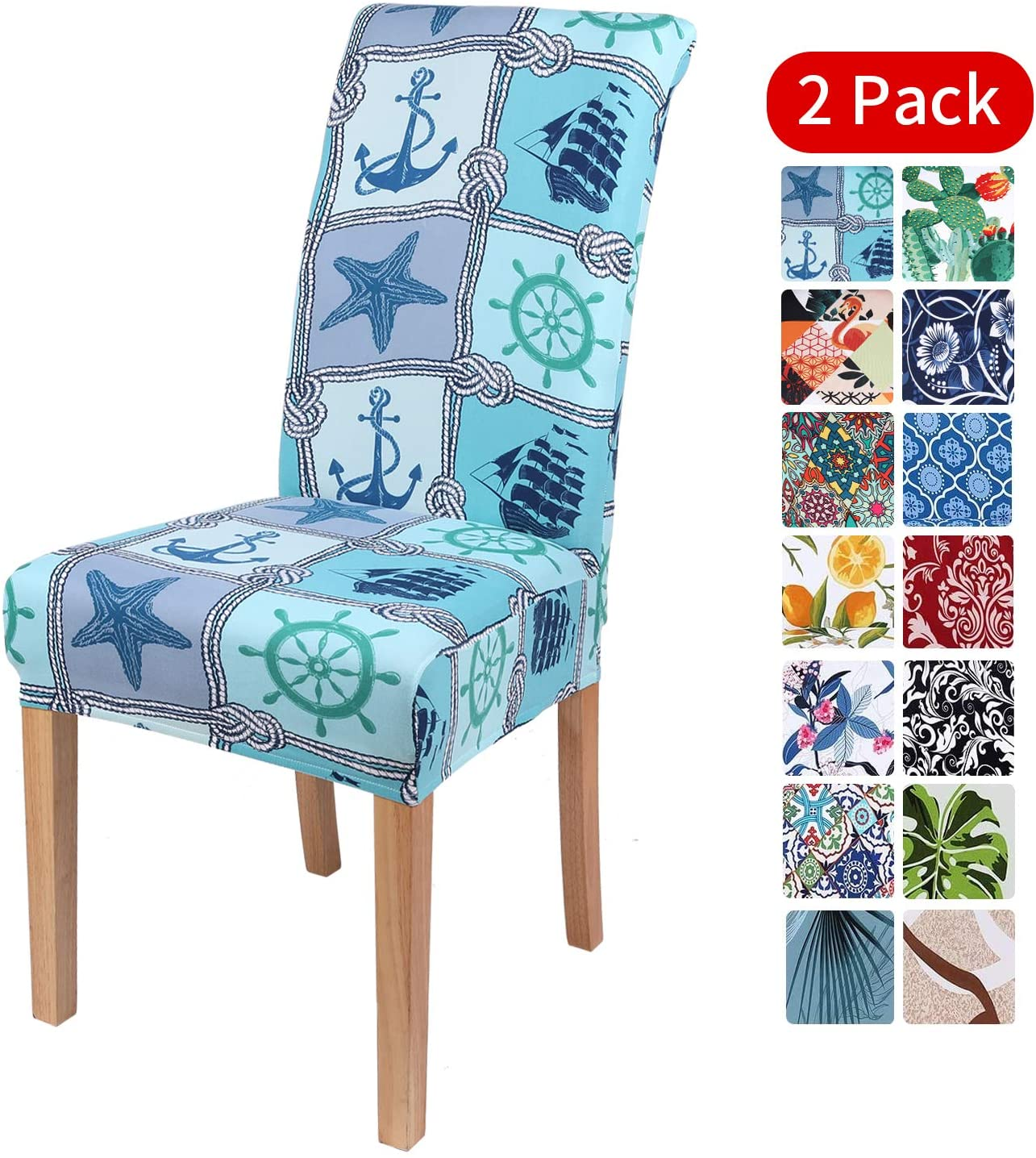 smiry Stretch Printed Dining Chair Covers, Spandex Removable Washable Dining Chair Protector Slipcovers for Home, Kitchen, Party, Restaurant - Set of 2, Blue Ocean