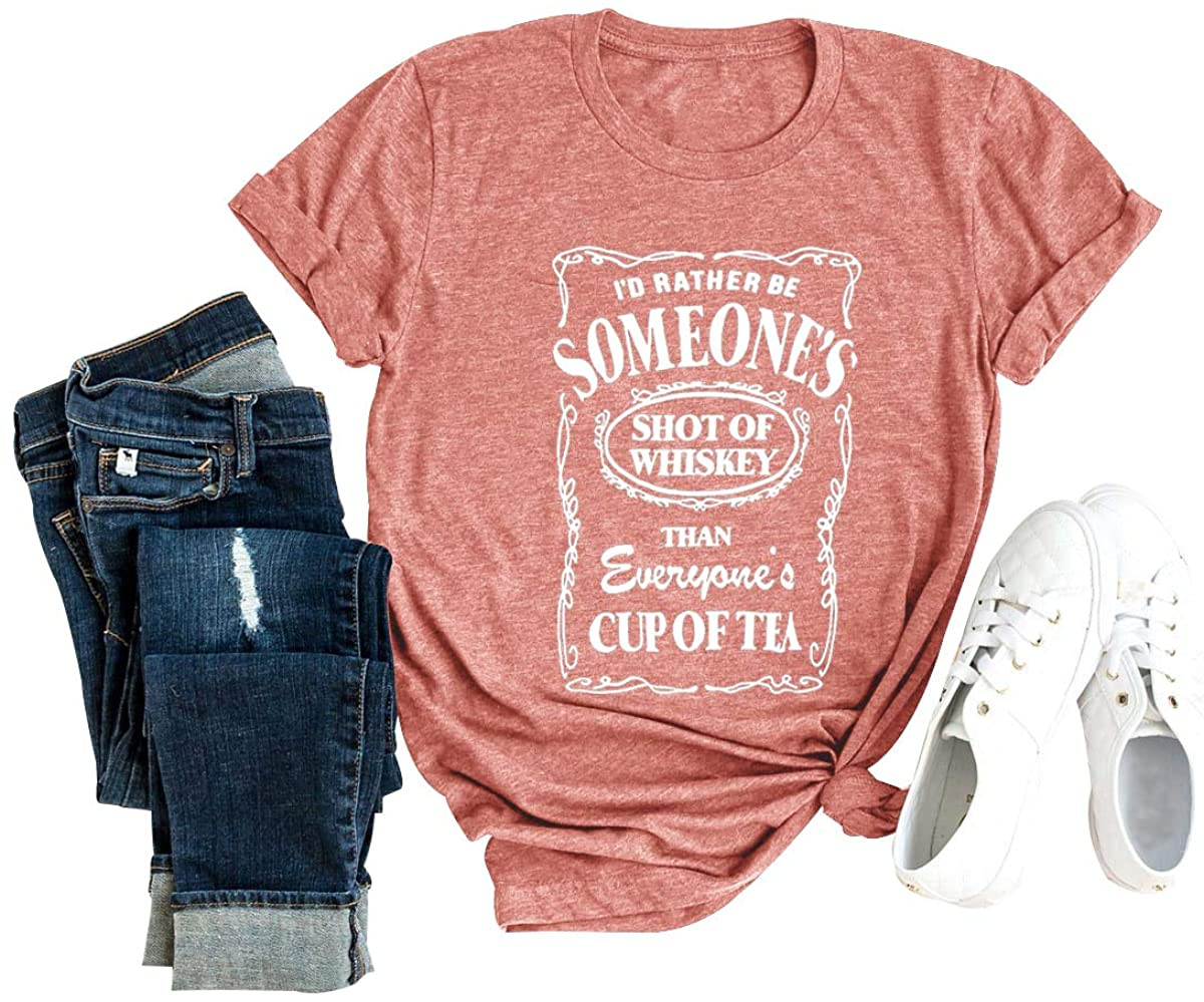 Chulianyouhuo I'd Rather Be Someone's Shot of Whiskey Shirts for Women Southern Country Music Short Sleeve Wine Tee