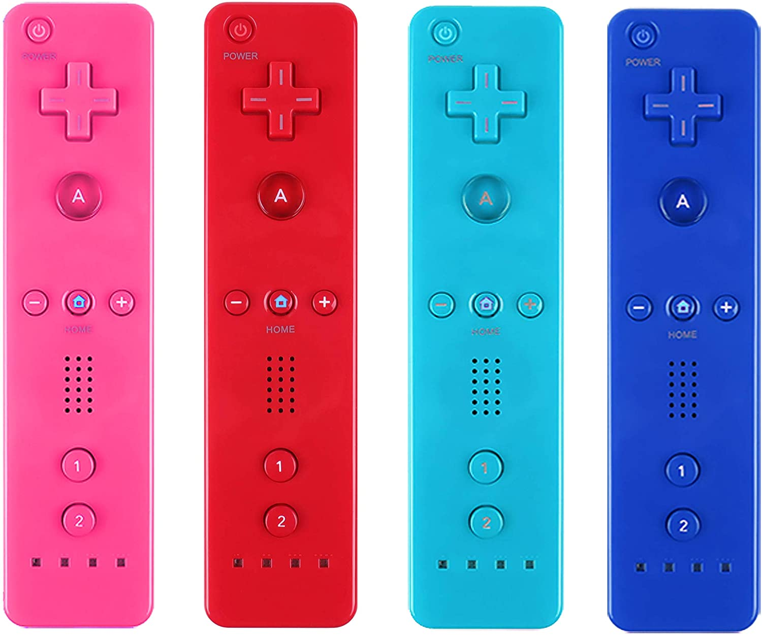 Yosikr Remote Wireless Controller Compatible for Wii/Wii u Console - with Silicone Case and Wrist Strap (Pink+Deep Blue+Blue+Red.)