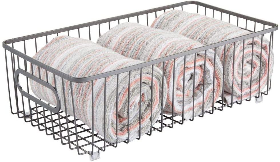 mDesign Metal Bathroom Storage Organizer Basket Bin - Farmhouse Wire Grid Design - for Cabinets, Shelves, Closets, Vanity Countertops, Bedrooms, Under Sinks - Large - Graphite Gray