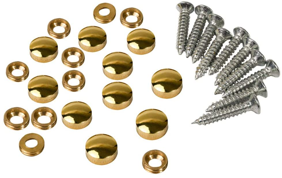Metany 10PCS Brass Mirror Screws 10mm Decorative Caps Cover Nails Sign Holder Advertising Nails Cap Fasteners Hardware Polished Shiny Gold for mirrors,tea tables, wardrobes or glass furniture
