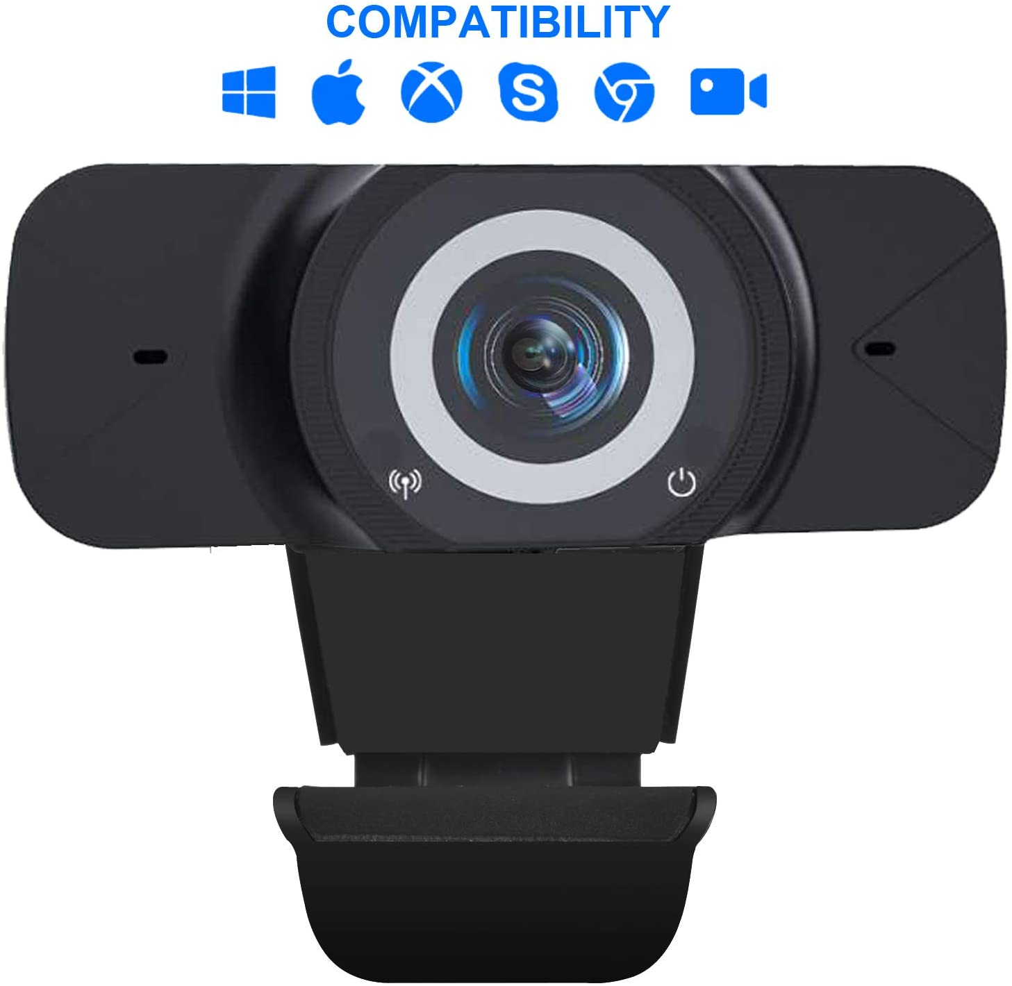 1080P Webcam, HD Webcam with Microphone Streaming Computer Web Camera -USB Computer Camera with Wide Angle Lens for PC Laptop Desktop Video Calling, Conferencing