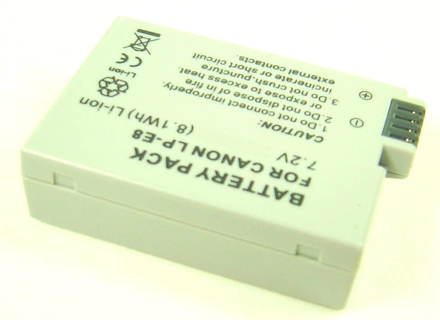 Li Ion Rechargeable Battery Pack for Digital Camera/Video Camcorder Compatible with Canon LP E8, LPE8