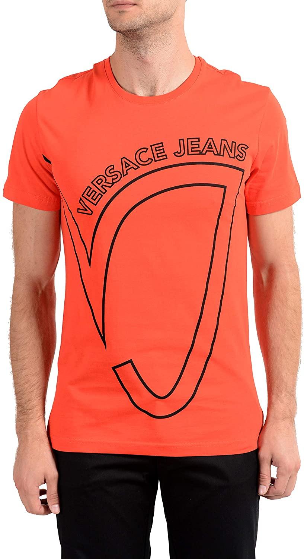 Versace Jeans Men's Orange Graphic Crewneck Short Sleeve T-Shirt Sz US S IT 48