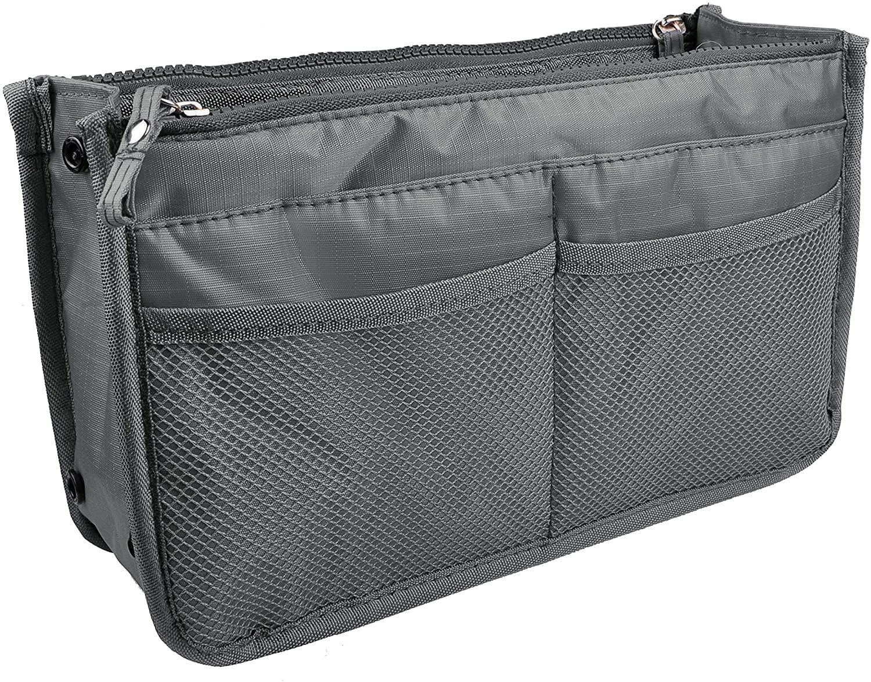 Vercord Updated Purse Handbag Organizer Insert Liner Bag in Bag 13 Pockets Grey Small