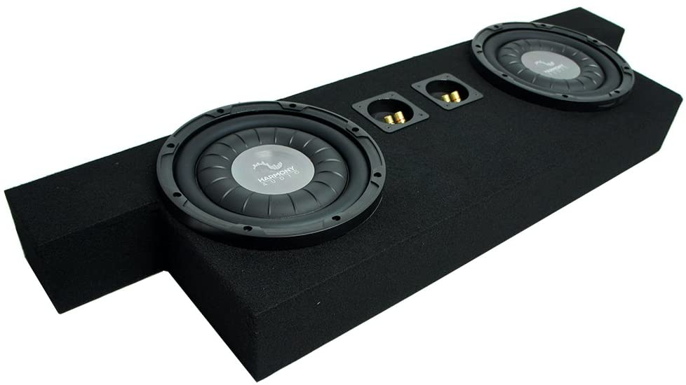 Harmony Audio F104 Dual 10 Sub Box Enclosure Compatible with GMC Canyon Crew 2004 2005 2006 2007 2008 2009 2010 2011 2012