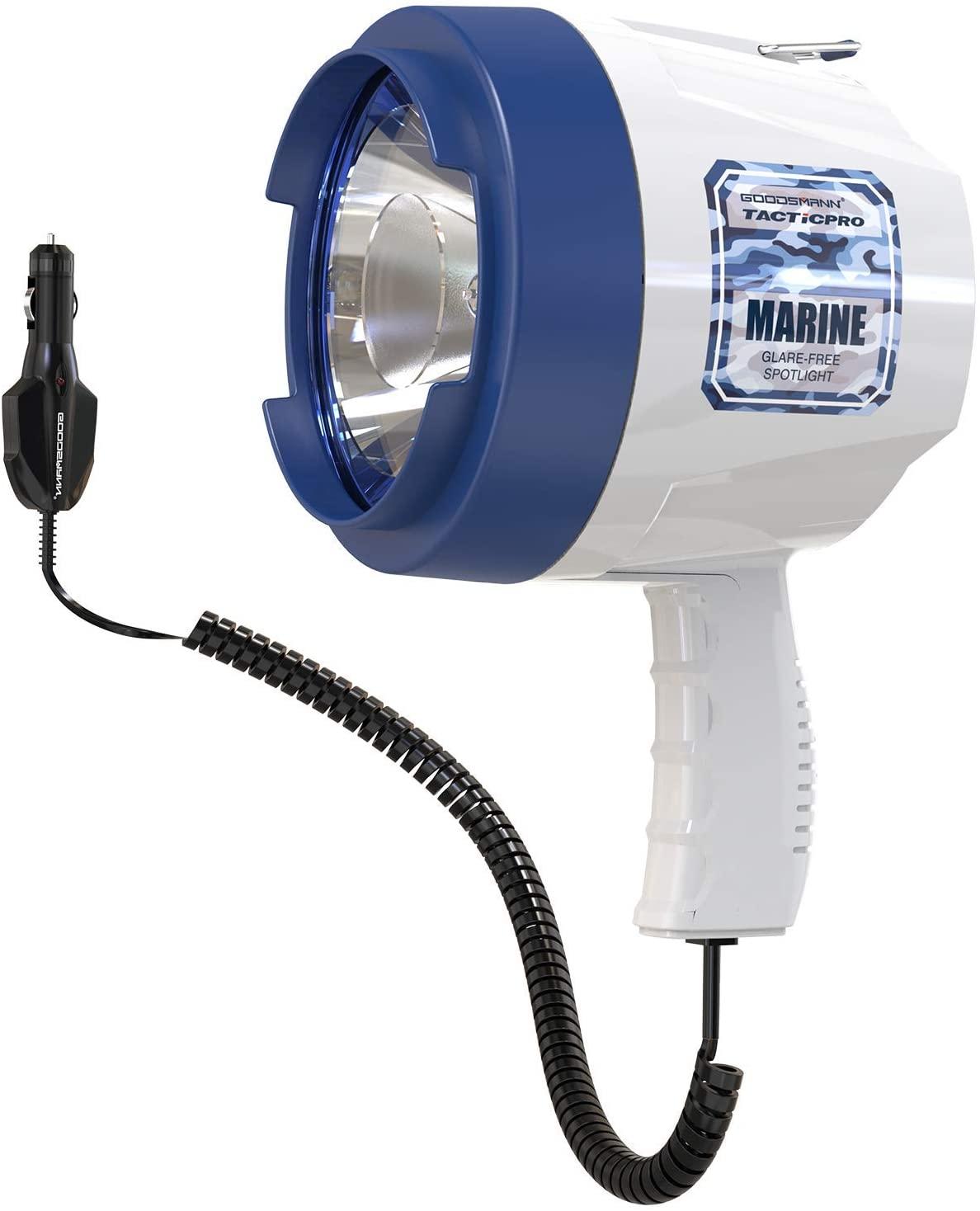 GOODSMANN Handheld Spotlight 1400 Lumens Best Flashlight Handheld and Floodlight for Fishing Hiking Camping Use 12V DC Car Charge