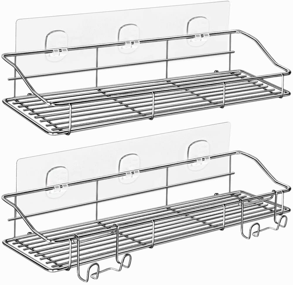 ODesign Adhesive Shower Caddy Shelf with Hooks Razor Bath Sponge Holder Bathroom Organizer Spice Rack Wall Mount No Drilling SUS304 Stainless Steel [13.39 x 4.33 x 2.36 inches] Silver - 2 Tier