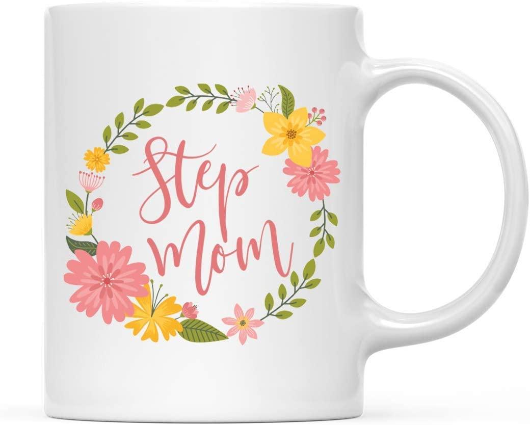 Andaz Press 11oz. Coffee Mug Gift, Step Mom, Floral Wreath, 1-Pack