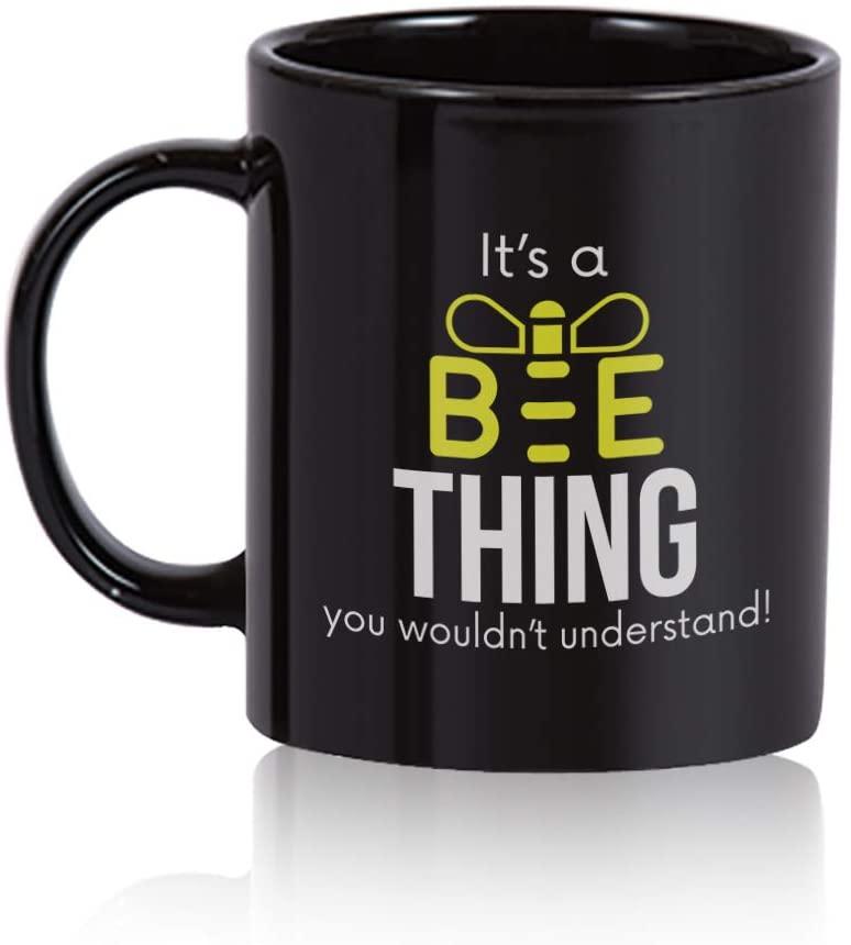 Bee Coffee Mug. Bee gift 11 oz. black