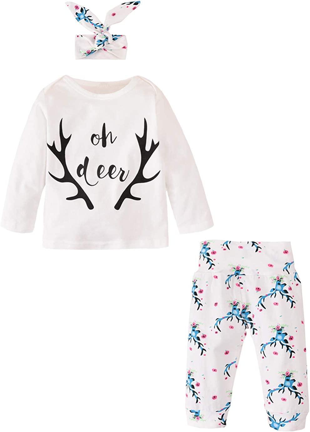 3Pcs Baby Boy Girls Long Sleeve Letters T-Shirt Top+Deer Print Floral Pant+Headband Bodysuit Set