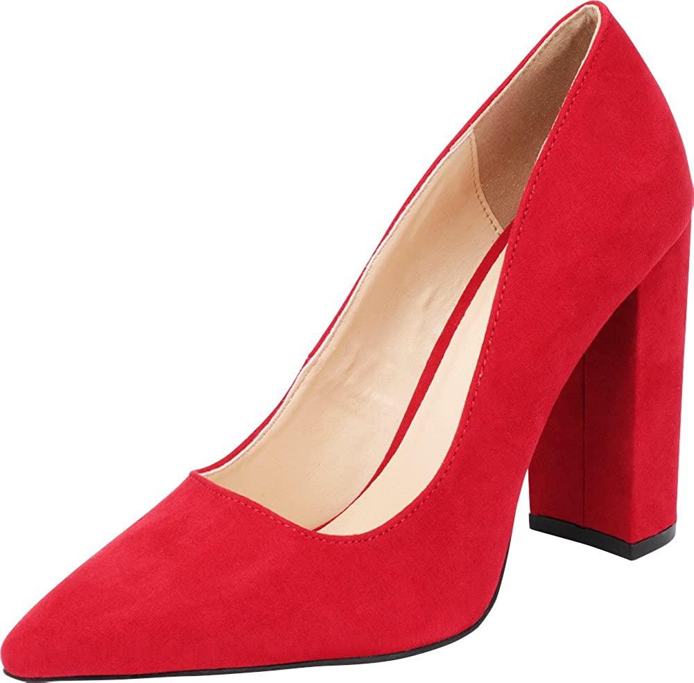 Cambridge Select Women's Classic Pointed Toe Chunky Block High Heel Pump
