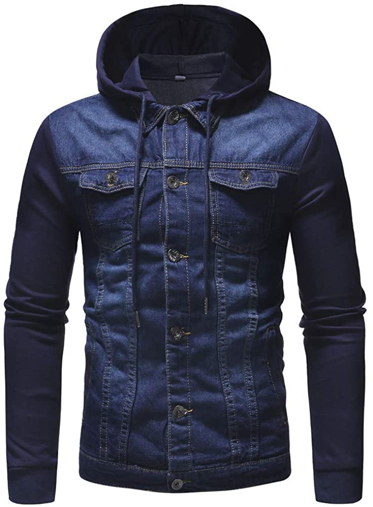 MODOQO Mens Long Sleeve Hoodies Vintage Denim Button Down Jacket Coat Outwear