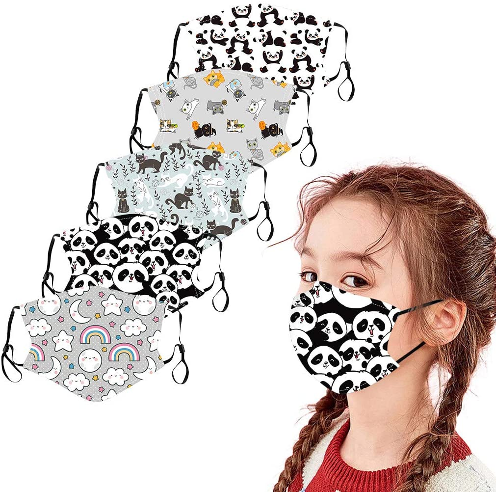 5Pcs Kids Girls Cotton Face_Masks with Adjustable Ear Strap - Children Cute Animals + Space + Flowers Print Face Bandanas with Filter Pocket, Reusable and Washable Cloth Facial Covering (C)