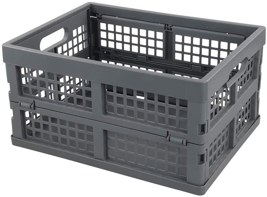 Ramddy 16 Quart Collapsible Crate, Plastic Storage Bins Basket, 1 Pack