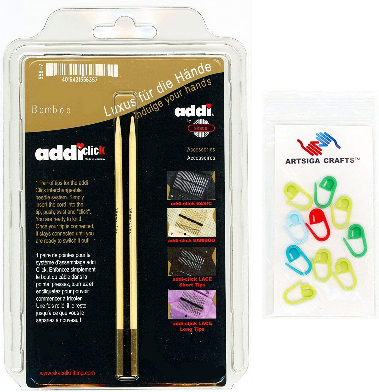 addi Knitting Needles Click Interchangeable Tips Natura Bamboo Set 5 inch (13cm) Size US 15 (10.0mm) Bundle with 10 Artsiga Crafts Stitch Markers
