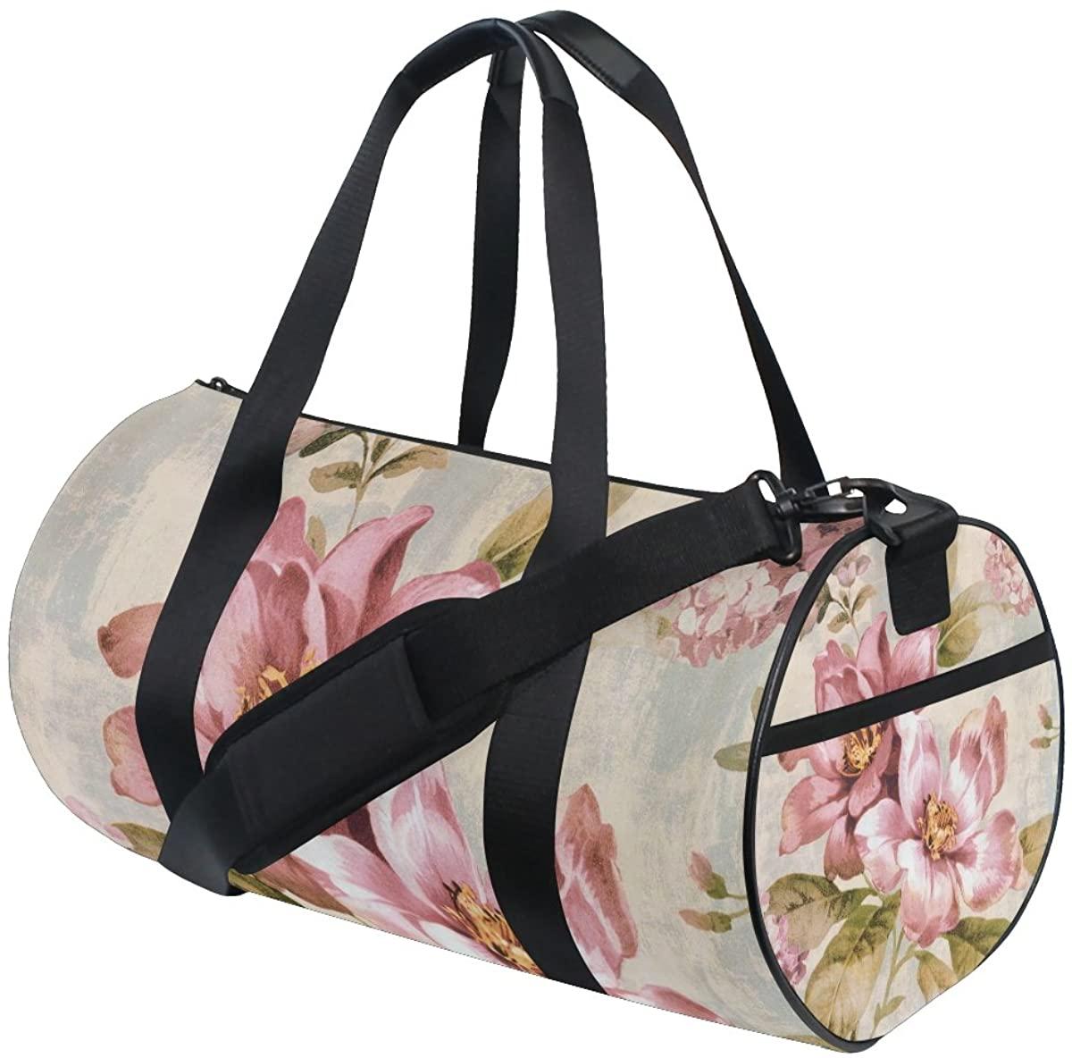 Duffel Tree Peony Fitness Gym Bags Canvas Sport Shoulder Bag for Men Women
