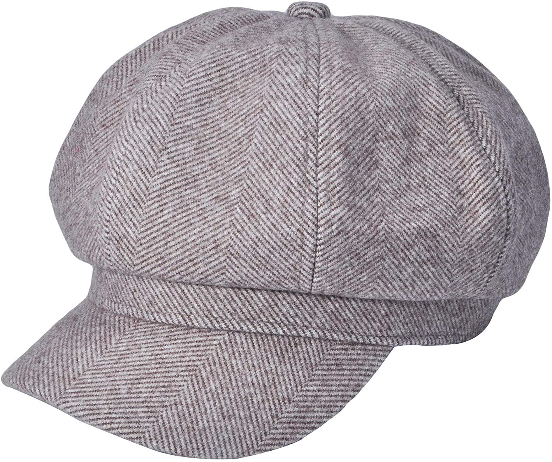 ZLYC Unisex Woolen Newsboy Caps Warm Gatsby Cabbie Hat