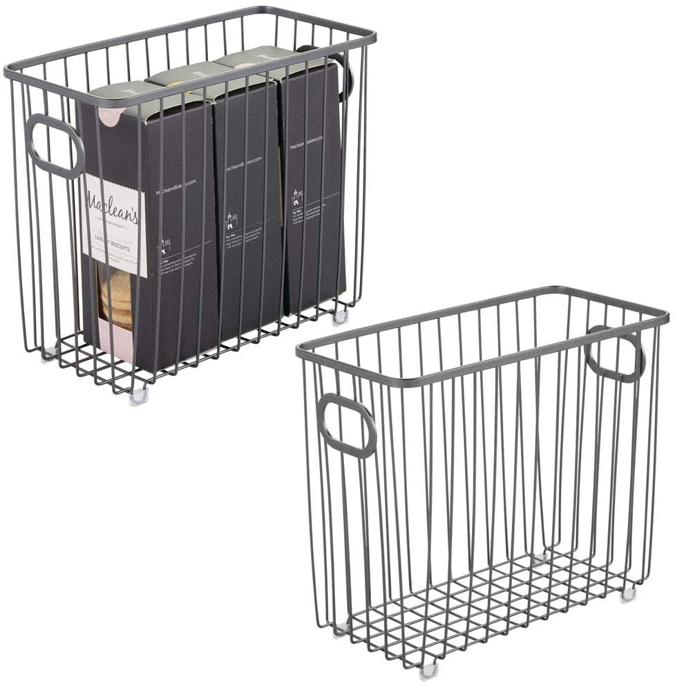 mDesign Metal Farmhouse Kitchen Pantry Food Storage Organizer Basket Bin - Wire Grid Design - for Cabinet, Cupboard, Shelf, Countertop - Holds Potatoes, Onions, Fruit - Medium, 2 Pack - Graphite Gray