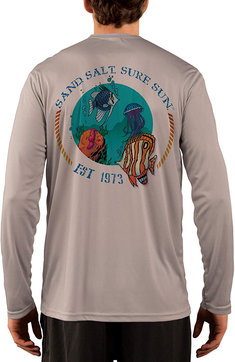 SAND.SALT.SURF.SUN. Tropical Fish Men's UPF 50+ UV Sun Protection Performance Long Sleeve T-Shirt