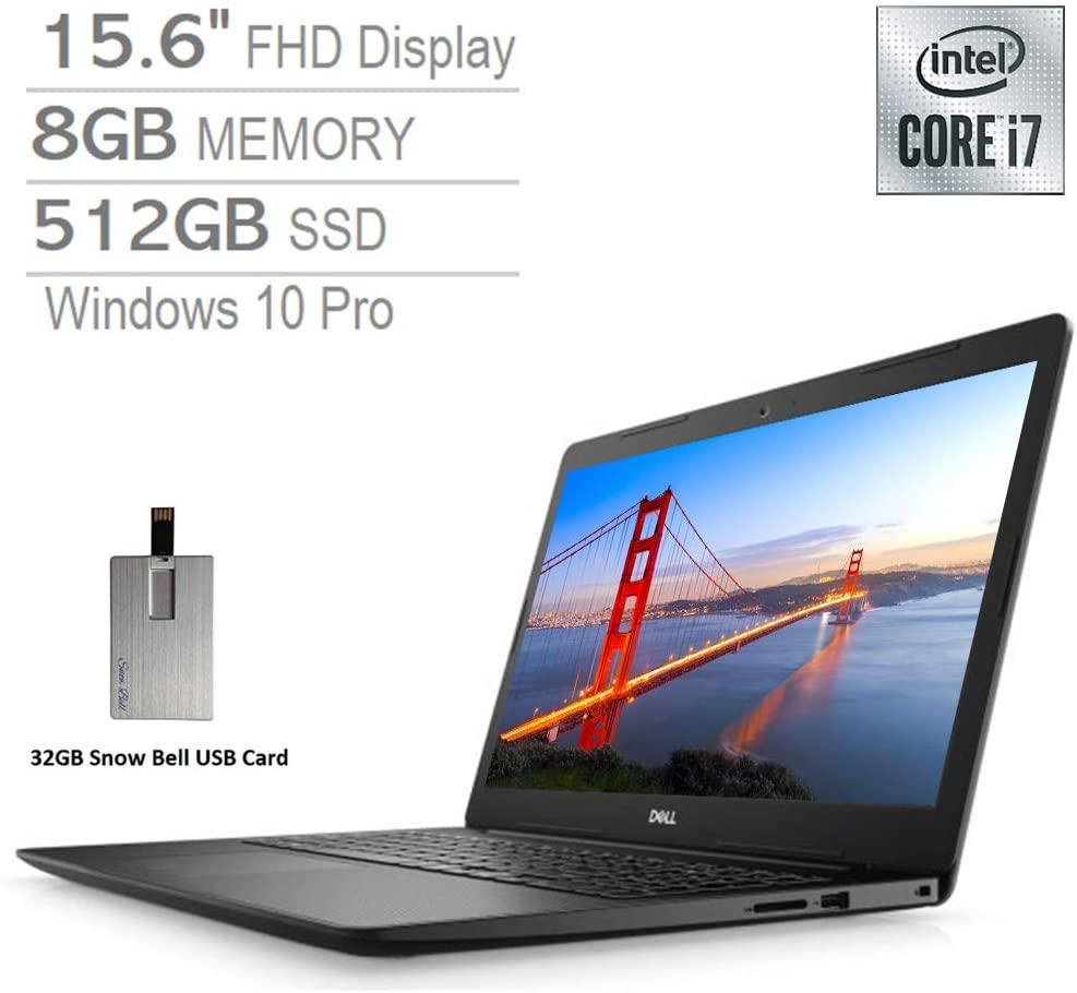 2020 Dell Vostro 3590 15.6'' FHD Laptop Computer, Intel Core i7-10510U Processor, 8GB RAM, 512GB SSD, HD Webcam, AMD Radeon 610 Graphics, MaxxAudio Pro, Win 10 Pro, Black, 32GB Snow Bell USB Card