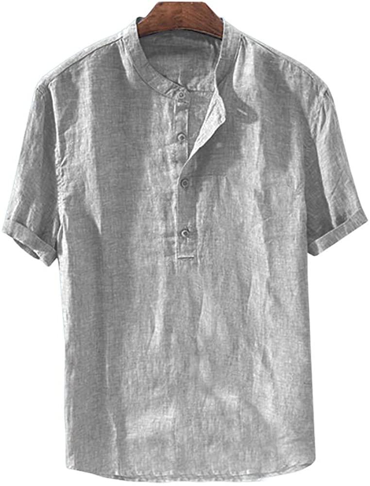 Mens Henley Neck Shirt Linen Cotton Short Sleeve Standard Fit Tee V-Neck Yoga Top