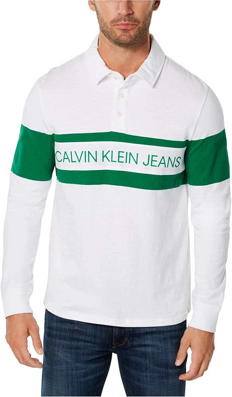 Calvin Klein Mens Colorblocked Logo Rugby Polo Shirt