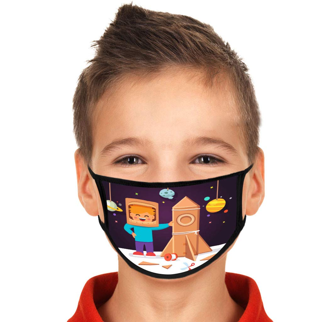 Crazypig 10PCS Kids Reusable Bandana_Covering_Mask Breathable Cotton New Spaceship Madk for Boys and Girls Outdoor Sports Reusable&Washable