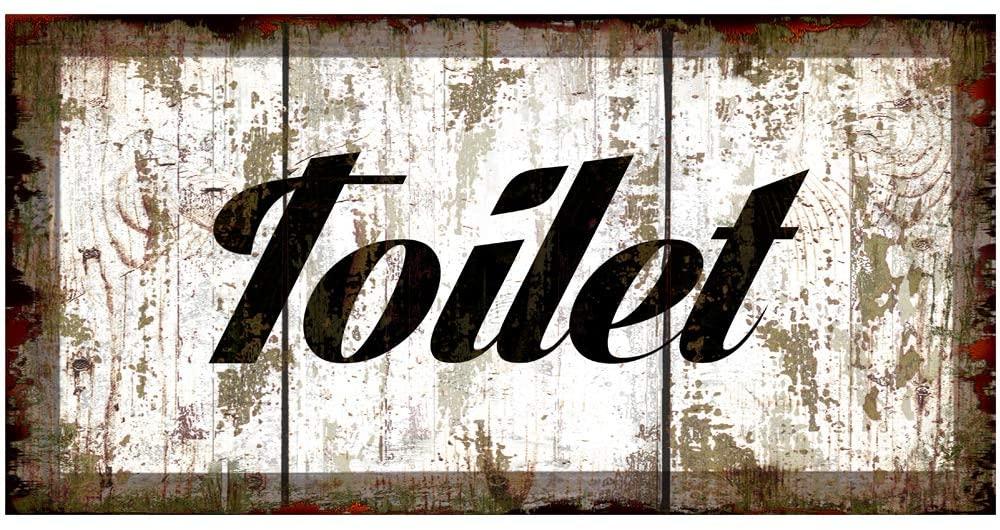 Imitation Wood Pattern Original Retro Design Toilet Tin Metal Signs Wall Art|Thick Tinplate Print Poster Wall Decoration for Bathroom